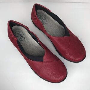 Clarks | Cloud Steppers Slip On Comfort Red Shoes